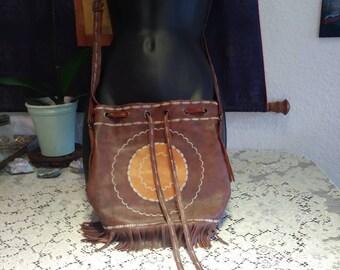 Leather crossbody purse with fringe