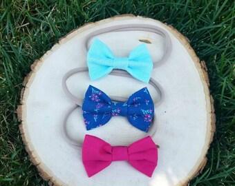 Nylon bow headband set - nylon headband set - bow set - hot pink bow - floral bow - light blue bow - baby bows - headbands and bows - bows