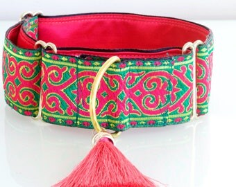 BOLLYWOOD PRINCESS  - Pink and Green Martingale Dog Collar with Green Silk Tassel for Large Sight Hound