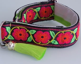 ROSE RED  Limited Slip 4cm Adjustable Martingale Dog Collar for Greyhound, Whippet, Saluki, Sight Hound