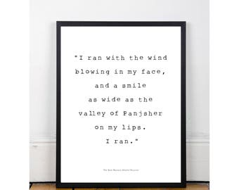 the kite runner  the kite runner khaled hosseini book quote poster black white