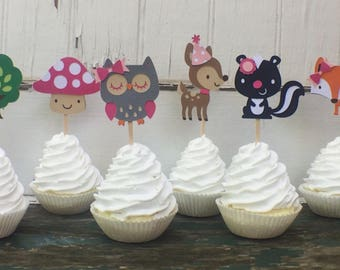 Girl Animal Toppers - Girl Woodland Toppers - Woodland Party Decorations - Girl Woodland Shower - Girl Woodland Party