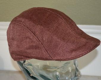 """Vintage Large Brown Drivers Cap Hat (58cm, 23"""")"""