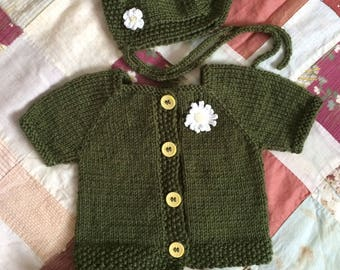 Hand-Knit Baby Cardigan, Bonnet and Shoes - Newborn to 3 Months