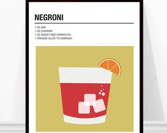 Negroni Print, Cocktail Print, Cocktail Recipe Art, Alcohol Print, Negroni Cocktail Print