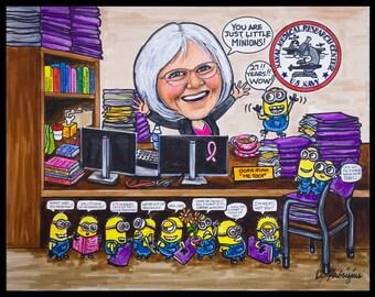Custom caricature, retirement for man, retirement for woman, retirement for men, retirement for women, boss retirement, nurse caricature