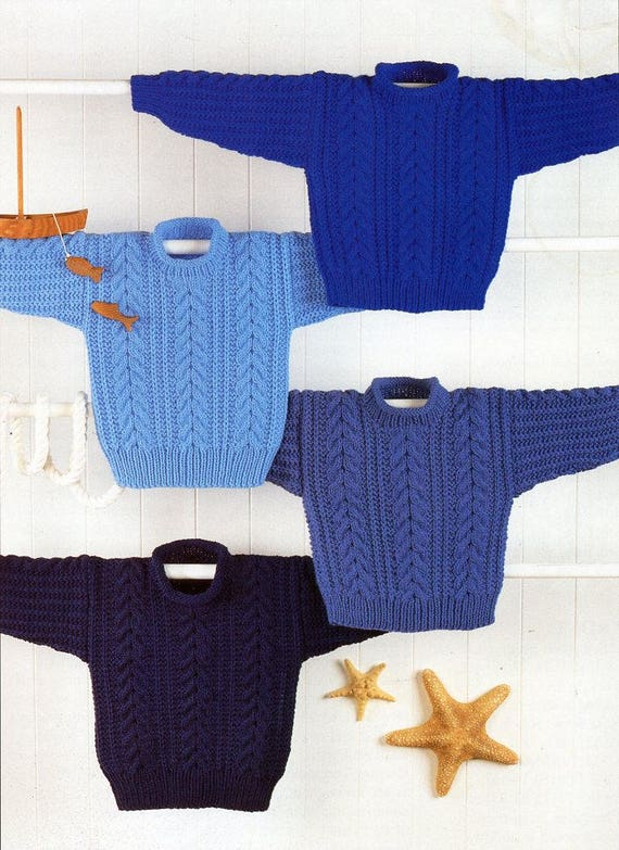 Childs Aran Jumper Knitting Pattern : childs / childrens aran sweater knitting pattern pdf cable