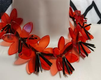Translucent Red Lucite Flower Petal Necklace Choker