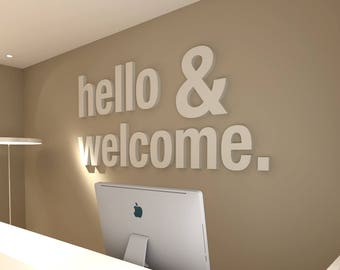 Hello & Welcome, Office, Wall, Art, Decor, 3D, PVC, Typography, Inspirational, Motivational, Work, Sucess, Decals, Stickers - SKU:HECO