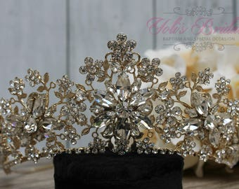 FAST Shipping!!!  Gold Swarovski Tiara,  CristalTiara ,Wedding Tiara ,Crown , Princess Tiara, Quinceañera, Cristal Headpiece