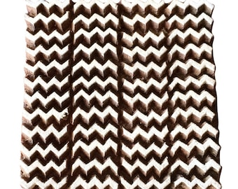 Square Zigzag Stamp Wood Block Stamp Block Printing Stamp Textile Stamp