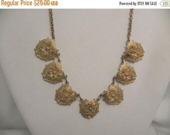 20% Off Sale Vintage Hearts & Flowers Linked Necklace