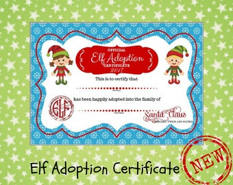 Christmas elf etsy for Elf adoption certificate