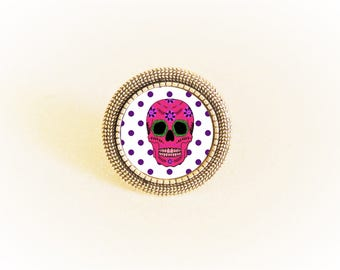 Adjustable silver ring and cabochon Mexican skull calavera pattern