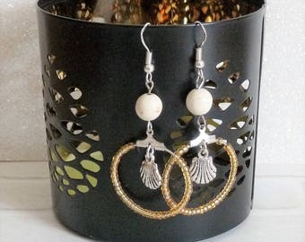 Earrings ' hoop earrings Silver 925 gold beads and silver shell