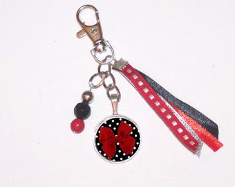 Jewelry bag/Keychain red and black and white bow cabochon