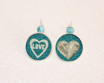 Earrings sleepers silver cabochon Love turquoise and silver