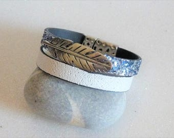 White and blue glitter leather Cuff Bracelet with a silver feather passing