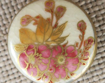 Old Satsuma Button With Wild Rose Design