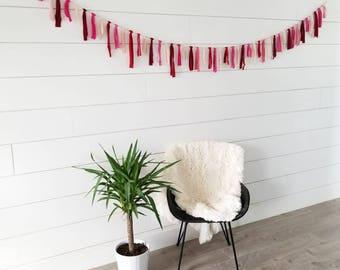 Valentine Garland // Red Pink Cream Garland // Fabric Garland // Valentine Decoration // Home Decor