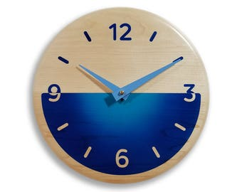 Wood wall clock. Contemporary wall clock. Blue wall clock. 10 inch wall clock.  Deep blue and light blue airbrushed colors. CL5017