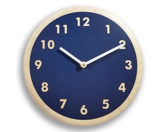 Amazing Navy Blue Wall Clock. Modern Wall Clock. Kitchen Wall Clock. Simple Wall  Clock