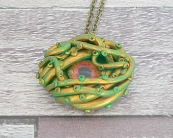 Green & Gold Cthulhu Necklace, Cthulhu Pendant, Kraken Necklace, Tentacle Necklace, Kraken Pendant, Tentacle Pendant, Mermaid Necklace