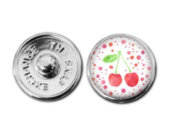 Cherries snap charm, cherries charm, red cherries charm