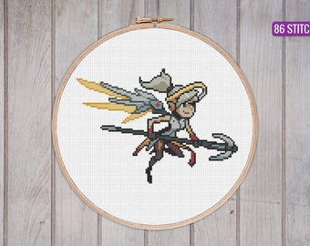MERCY from Overwatch // cross stitch pattern // geekery and gaming