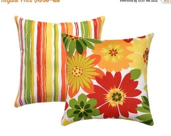 SALE Two Outdoor Floral/Stripe Reversible Pillows, Floral Yellow Outdoor  Pillow Cover, Orange