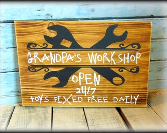 Grandpa Sign - Father's Day Gift - Grandparent Sign - Workshop Plaque - Garage Decor - Gift For Dad - Rustic Home Decor - Funny Dad Sign
