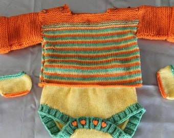 a body of sweater and booties set, hand knitted corole baby doll