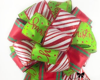Christmas Bow, Red Bow, Green Bow, Glitter Bow, Multi Ribbons, Tree Topper, Christmas Tree Bow, Christmas Decor, Wreath Bow, Large Bow