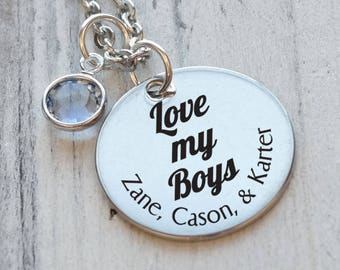 Love My Boys Mothers Personalized Engraved Necklace