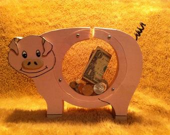 Handmade Wooden Bank Pig