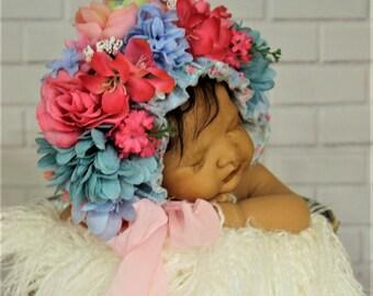 Flower bonnet ,Floral Bonnet, Flower baby Hat, newborn flower bonnet, READY TO GO!!
