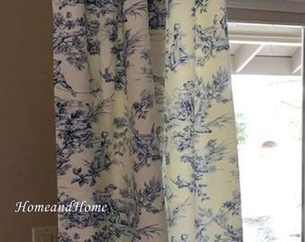"SALE 50"" Pair of rod pocket drapery panels designer curtains 50 x 84 108 cobalt blue ivory toile drapery long curtain blue toile curtain"