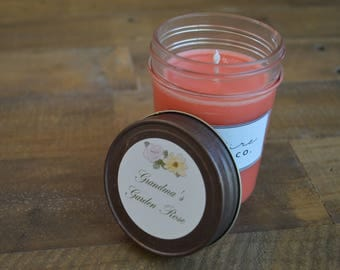 Handcrafted 8 oz. Grandma's Garden Rose Soy Candle in Jelly Jar