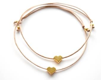Friendship Bracelets Hearts Gold in your wish color!