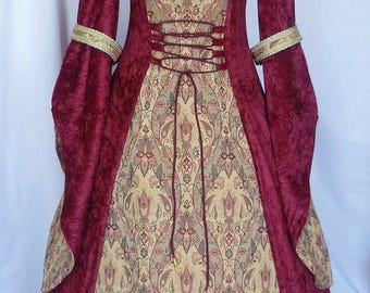 Hand made Red medieval wedding dress, Pagan gown, fantasy costume, Renaissance wedding gown,Ready to ship,UK size 14 - 16 - 18