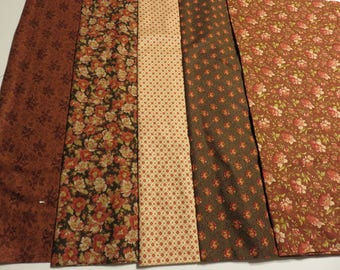 Moda Bundle of 5 different flower patterns and coordinate fabric 1 yard of  each 55.00 for the bundle  Free Shipping