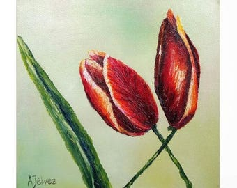 "Love art Love wall art Original oil painting Love gift Romantic gift Tulip art Tulip painting Wedding gift Newlywed gift Romantic art 8x8"""