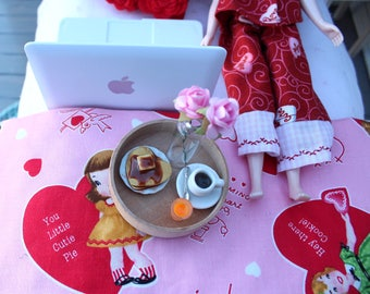 Heart Shaped Pancakes with Butter and Syrup on Plate for Blythe Barbie Playscale