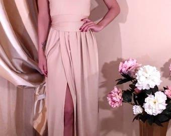 Sand  Women's Maxi Dress V- Neck Sleeveless Slit