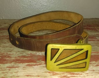 "Hello, Sunshine! Vintage Brown Leather Belt with ""Sunbeams"" Solid Brass Buckle"