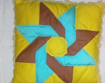 Vintage Folk Art Throw Pillow