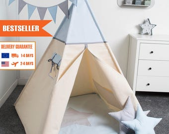 children teepee tent, kids play tent, tipi, teepee tent, set 6 elements indian wigwam LIGHT BLUE