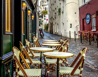Romantic Cafe, Sacre Coeur Basilica, Paris Photography