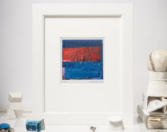 """4x4"""" Original Abstract Oil Painting, Color Field, Small Oil Painting on Canvas, Blue, Red, Modern Home Decor, Miniature, Matted 10x10"""""""