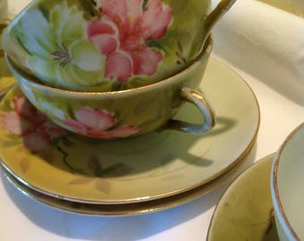 Set Four Nippon Hand Painted Cups and Saucers